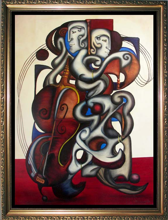 SOLD!  ODE TO CLEMENTE IN B MINOR--  Cubistm and Surrealism influenced, figural oil painting. MANIFEST MIND COLLECTION 2008