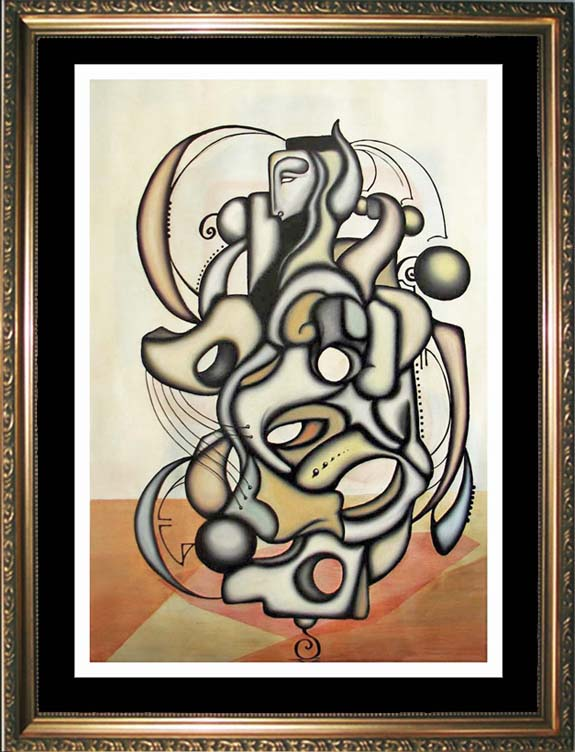 SOLD! CONQUISTADOR -- A Cubism Surrealism influenced figural oil painting.MANIFEST MIND COLLECTION 2008