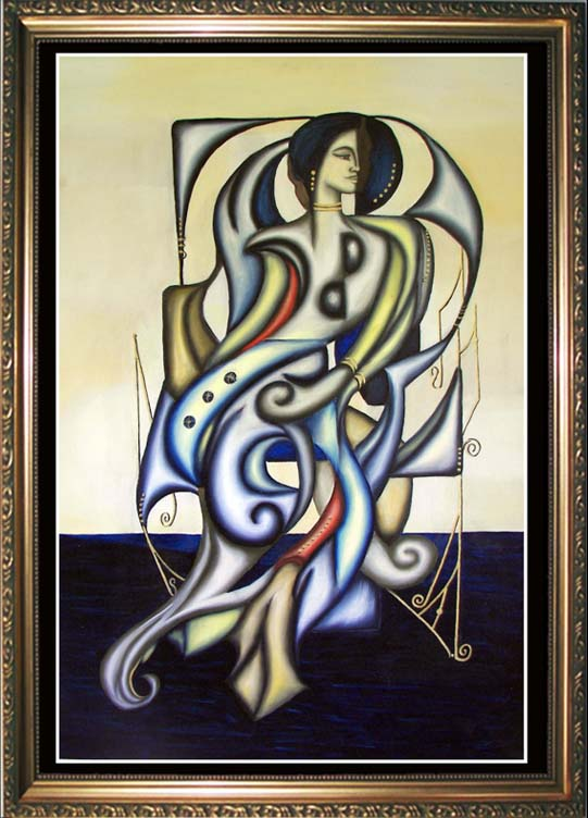 DAMZEL    -- Cubism and Surrealism influenced, figural oil painting. MANIFEST MIND COLLETION 2008