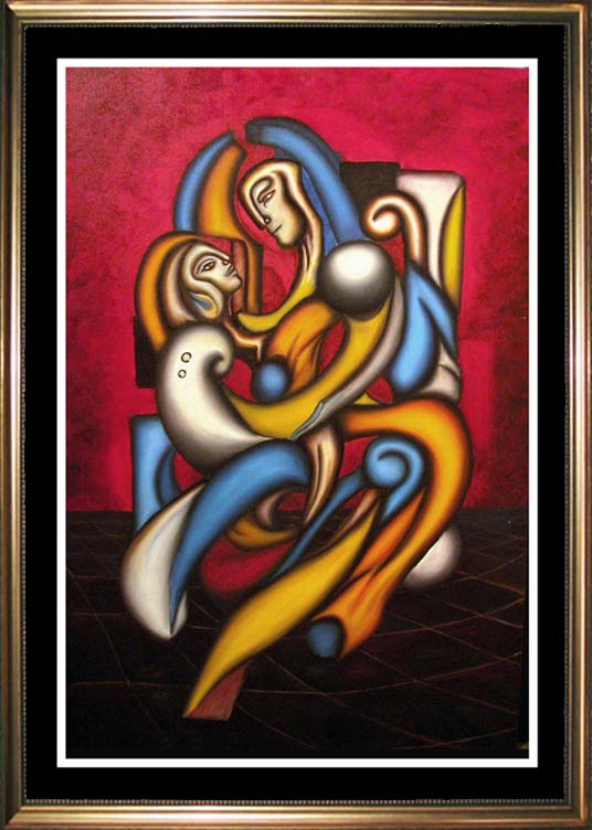 SOLD DANCING LOVE -- Cubism and Surrealism influenced, figural oil painting. MANIFEST MIND COLLECTION 2008