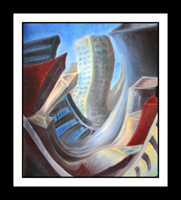 SOLD DOWNTOWN BLUES   -   Original surrealism, Oil Painting on canvas, Contemporary Art