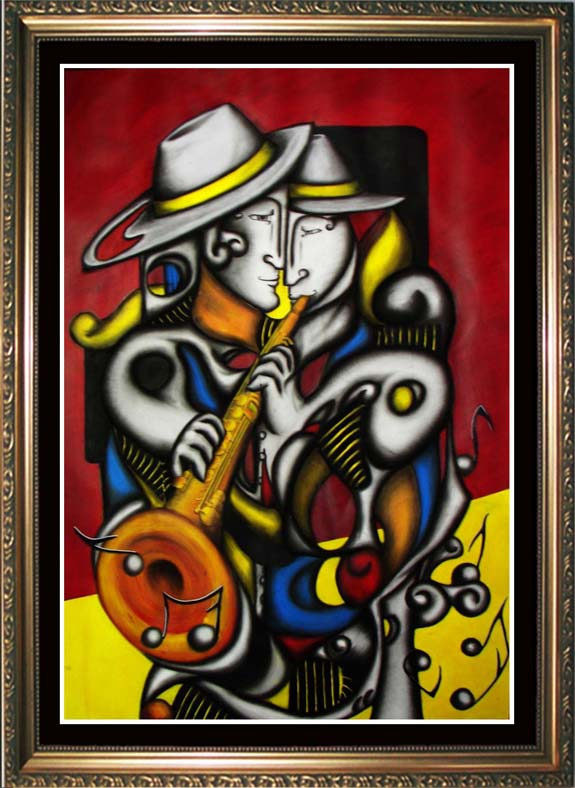SOLD! SOPRANO SAX -- Cubism and Surrealism influence, figural oil painting. MANIFEST MIND COLLECTION 2008