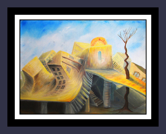 SOLD!  - SOUTHWESTERN SUMMERTIME    -  Original surrealism, Oil Painting on canvas,  Contemporary Art