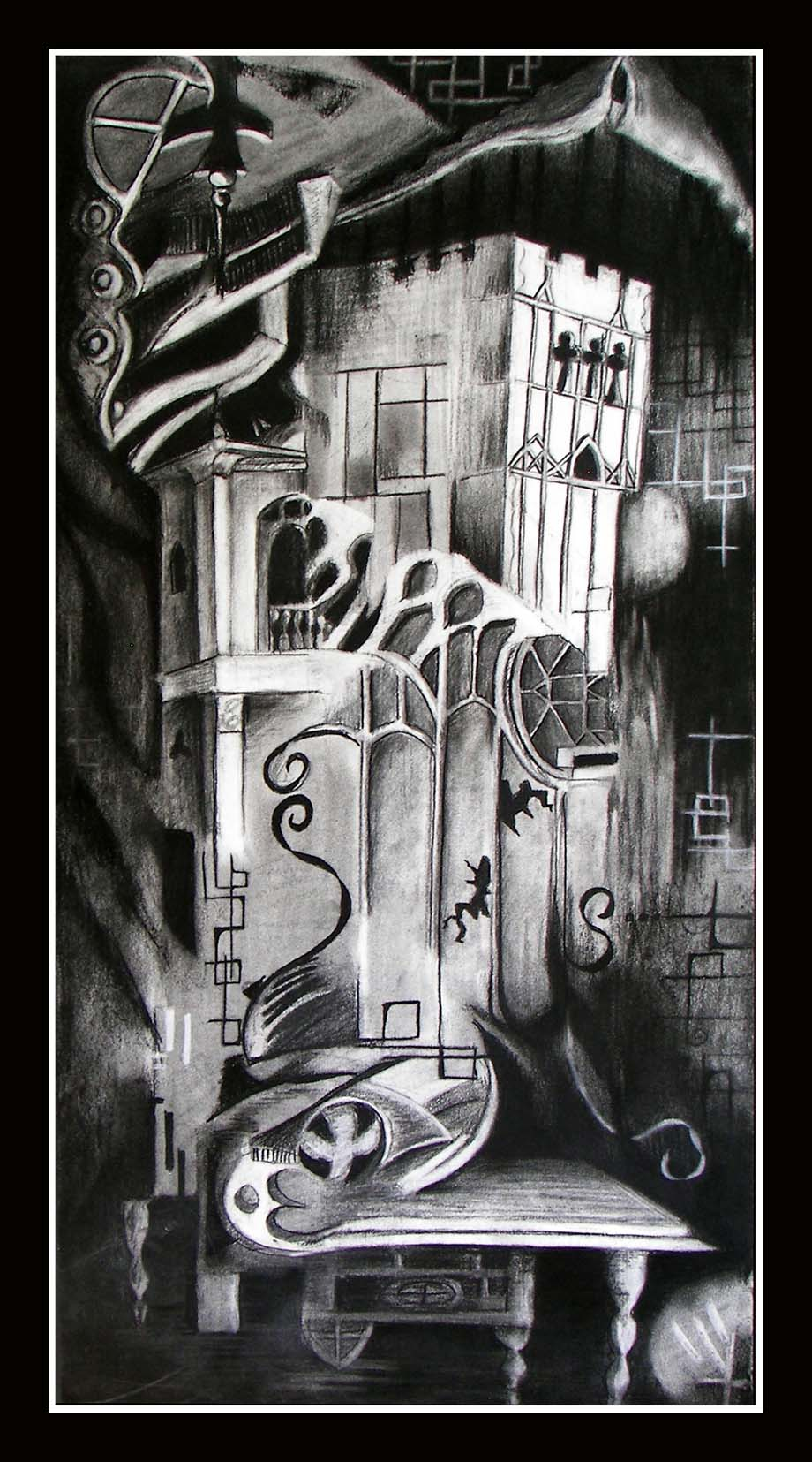 Temple of One  - Abstract charcoal drawing  Contemporary Art