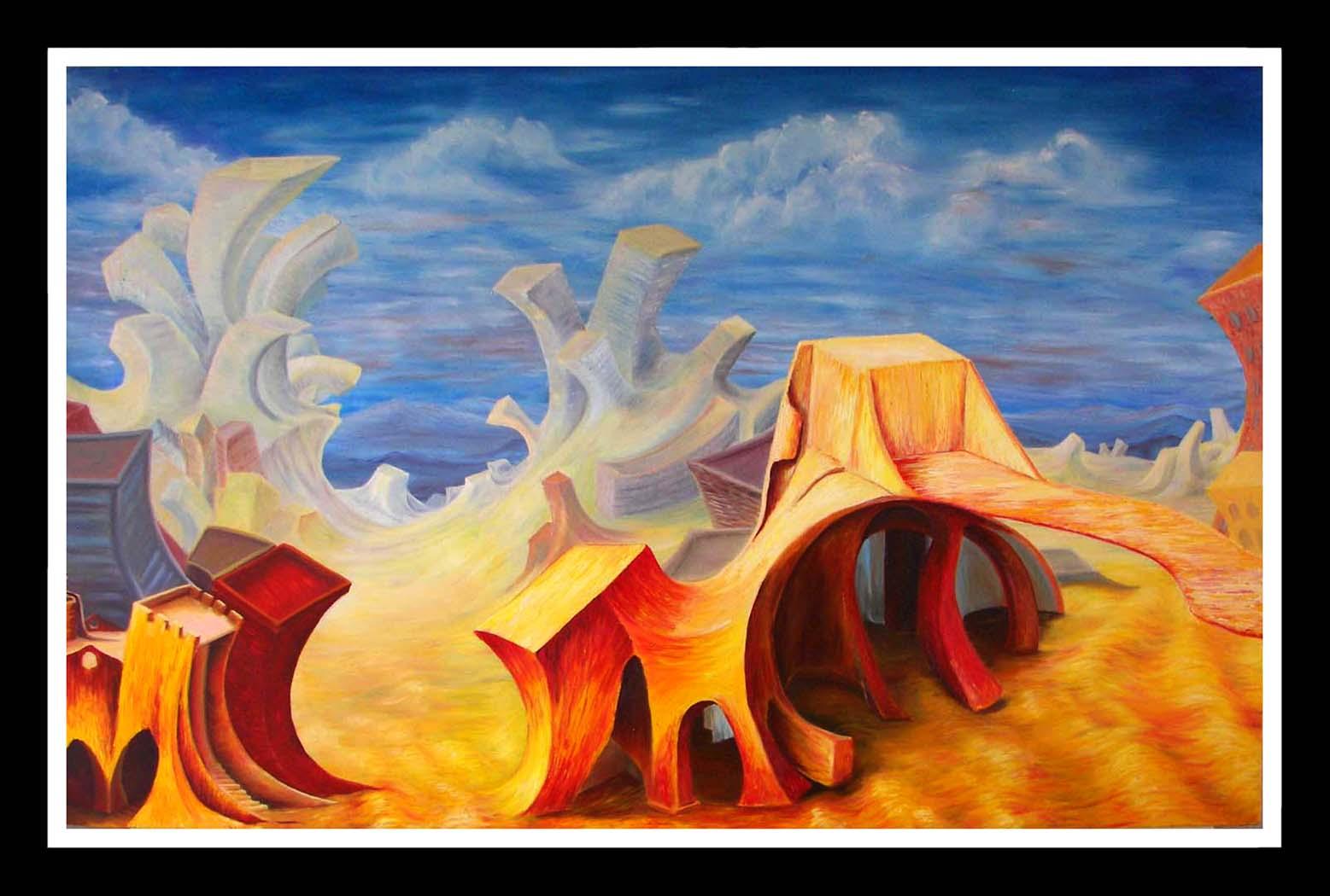 CITY FATE     -  Original Oil Painting, canvas, Contemporary Art
