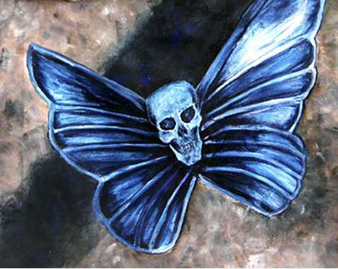 Blue_Iron_Butterfly    - Original Oil Painting, canvas