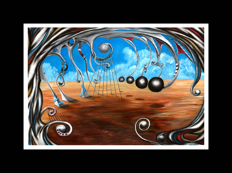 SOLD  -  DRYING SKINS     Original surrealism, Abstract Contemporary Art