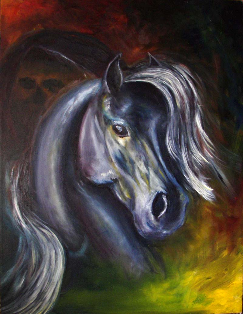 SOLD The_Pale_Horse --  Oil painting, Canvas