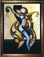 SOLD! DANCING MIND --  Cubism and Surrealism influenced, figural oil painting. MANIFEST MIND COLLECTION 2008 Prints available