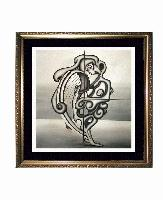 SOLD! THE HARPIST -- Cubism and Surrealism influenced, figural oil painting. MANIFEST MIND COLLECTION 2008