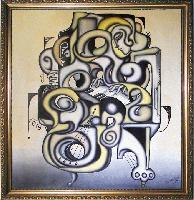 PIANIST --  A Cubism and Surrealism influenced, figural oil painting. MANIFEST MIND COLLECTION 2008