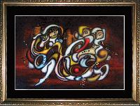 SOLD THE SUITORS -- Cubism and Surrealism influenced, figural oil painting. MANIFEST MIND COLLECTION 2008